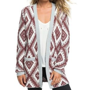Roxy All Over Again Knit Open Front Cardigan S NWT